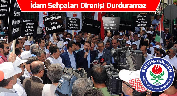 Mursi için verilen idam kararını protesto ettik