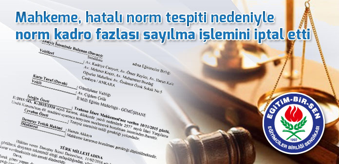 Mahkeme, hatalı norm tespiti nedeniyle norm kadro fazlası sayılma işlemini iptal etti