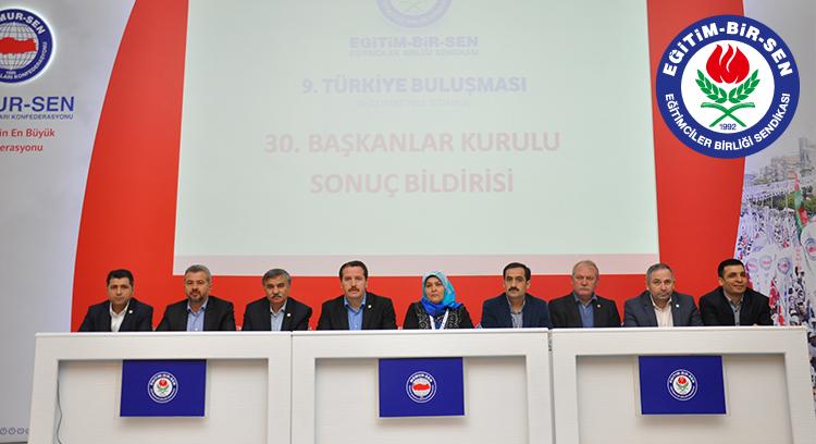 30. Başkanlar Kurulu Toplantısı Sonuç Bildirgesi