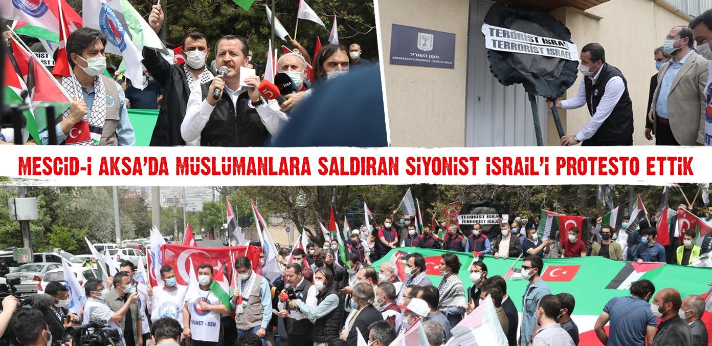 Mescid-i Aksa'da Müslümanlara saldıran Siyonist İsrail'i protesto ettik
