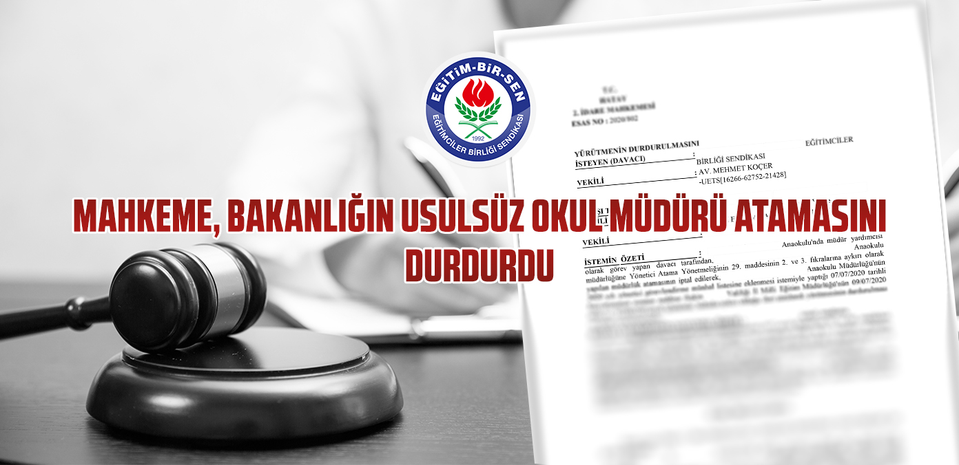 Mahkeme, Bakanlığın usulsüz okul müdürü atamasını durdurdu
